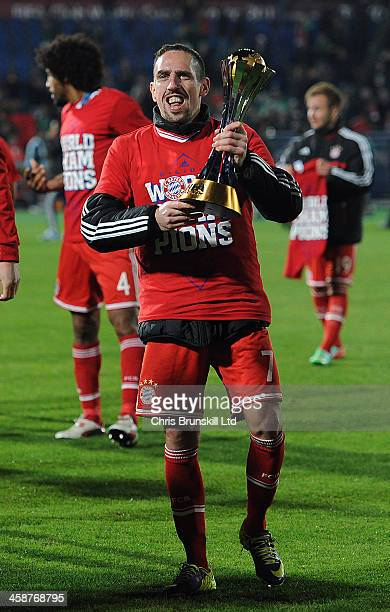 Franck Ribery of Bayern Muenchen celebrates with the trophy following the FIFA Club World Cup Final match between Bayern Muenchen and Raja Casablanca...