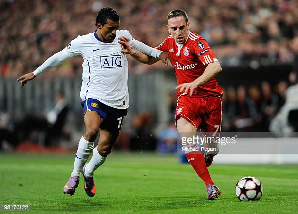 Franck Ribery of Bayern Muenchen challenges Nani of Manchester United during the UEFA Champions League quarter final first leg match between Bayern...