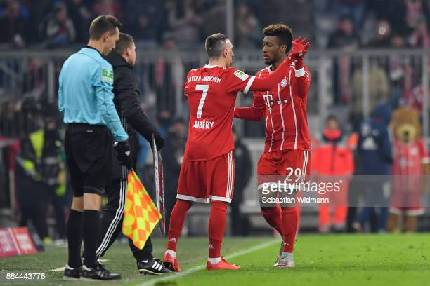 Franck Ribery of Bayern Muenchen comes on as a substitute for Kingsley Coman of Bayern Muenchen during the Bundesliga match between FC Bayern...