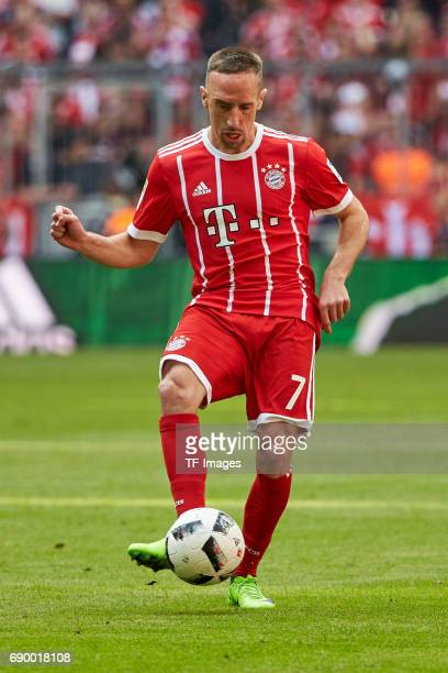 Franck Ribery of Bayern Muenchen controls the ball during the Bundesliga match between Bayern Muenchen and SC Freiburg at Allianz Arena on May 20...