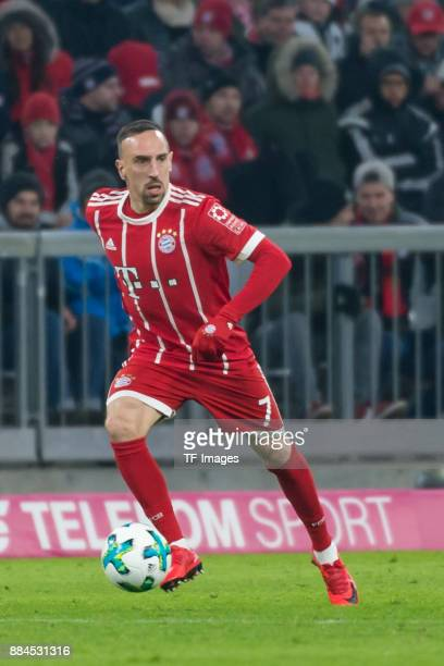 Franck Ribery of Bayern Muenchen controls the ball during the Bundesliga match between FC Bayern Muenchen and Hannover 96 at Allianz Arena on...