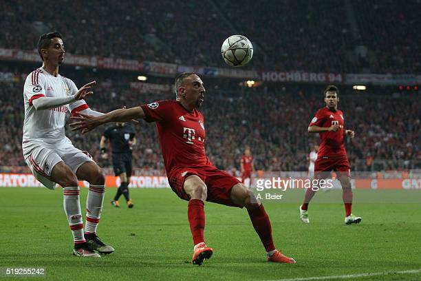 Franck Ribery of Bayern Muenchen fights for the ball with Andre Almeida of SL Benfica during the Champions League quarter final first leg match...