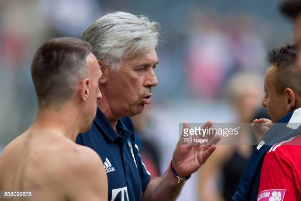 Franck Ribery of Bayern Muenchen Head coach Carlo Ancelotti of Bayern Muenchen und Rafinha of Bayern Muenchen looks on during the Telekom Cup 2017...