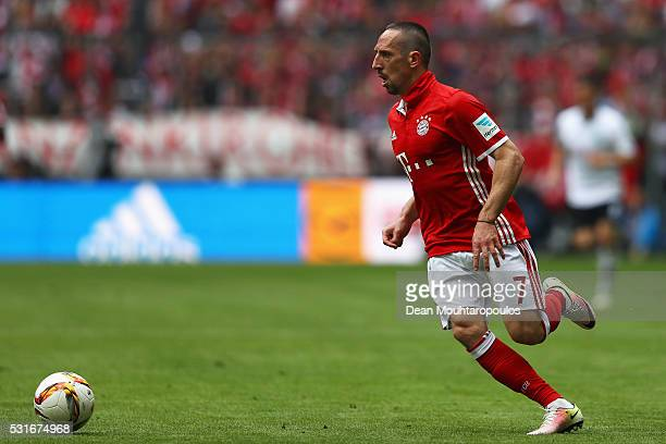 Franck Ribery of Bayern Muenchen in action during the Bundesliga match between FC Bayern Muenchen and Hannover 96 at Allianz Arena on May 14 2016 in...