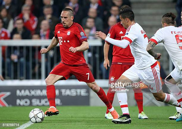 Franck Ribery of Bayern Muenchen in action during the UEFA Champions League quarter final first leg match between FC Bayern Muenchen and SL Benfica...