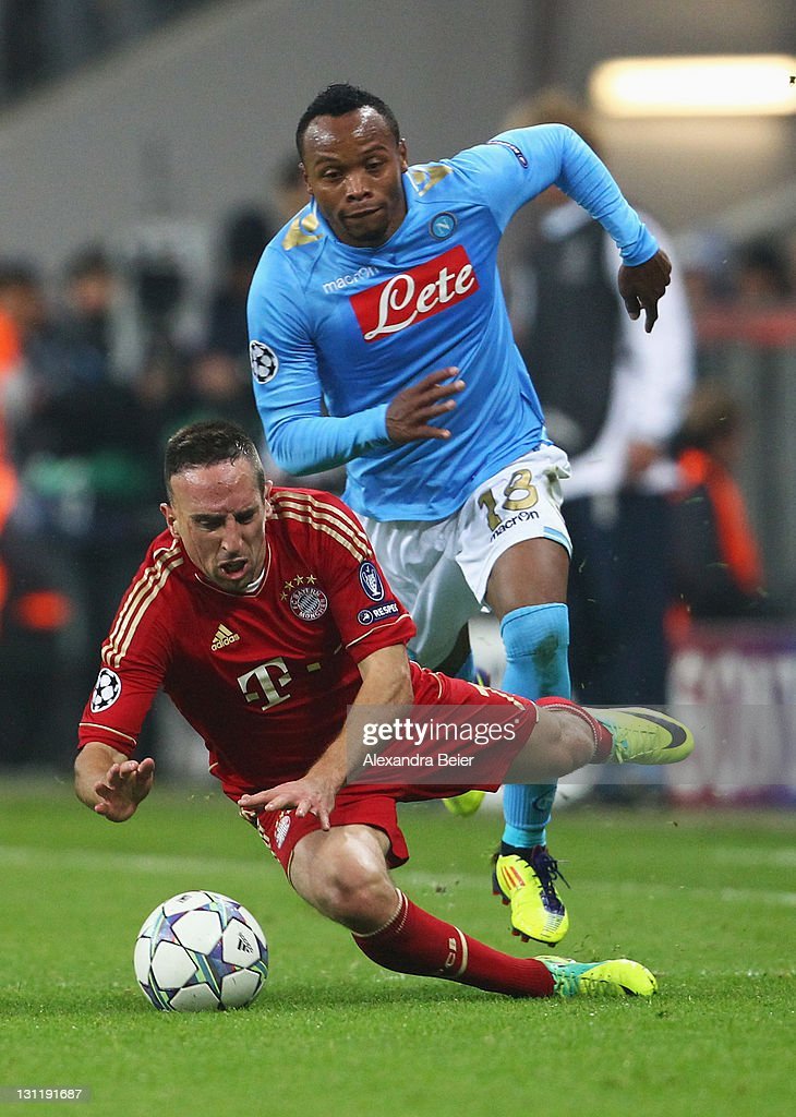 Franck Ribery (L) of Bayern Muenchen is fouled by Juan Zuniga of Napoli during the UEFA Champions League Group A match between FC Bayern Muenchen and SSC Napoli at Allianz Arena on November 2, 2011 in Munich, Germany.