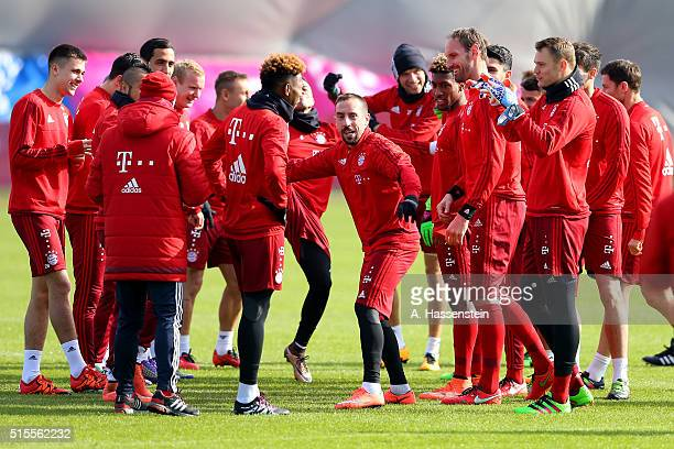 Franck Ribery of Bayern Muenchen jokes with his team mates during a training session at Bayern Muenchen's training ground Saebener Strasse on March...