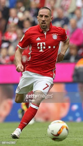 Franck Ribery of Bayern Muenchen kicks the ball during the Bundesliga match between FC Bayern Muenchen and Hannover 96 at Allianz Arena on May 14...