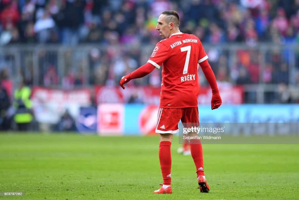 Franck Ribery of Bayern Muenchen looks on during the Bundesliga match between FC Bayern Muenchen and Hertha BSC at Allianz Arena on February 24, 2018 in Munich, Germany.