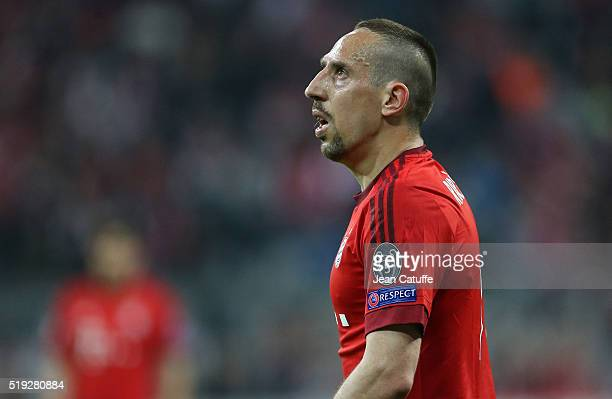 Franck Ribery of Bayern Muenchen looks on during the UEFA Champions League quarter final first leg match between FC Bayern Muenchen and SL Benfica...