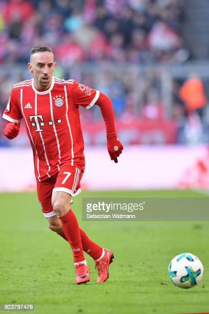 Franck Ribery of Bayern Muenchen plays the ball during the Bundesliga match between FC Bayern Muenchen and Hertha BSC at Allianz Arena on February 24...