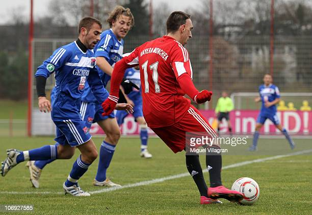 Franck Ribery of Bayern Muenchen plays the ball during the friendly match between FC Bayern Muenchen and SpVgg Unterhaching on November 17 2010 in...