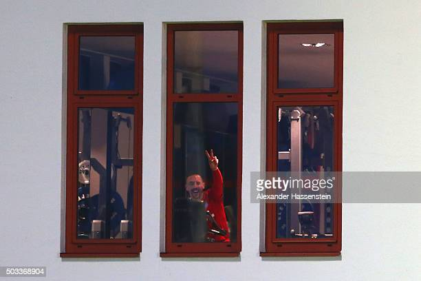 Franck Ribery of Bayern Muenchen reacts during a machine training session at Bayern Muenchen's trainings ground Saebener Strasse on January 4 2016 in...