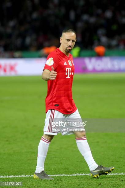 Franck Ribery of Bayern Muenchen reacts during the DFB Cup final between RB Leipzig and Bayern Muenchen at Olympiastadion on May 25 2019 in Berlin...