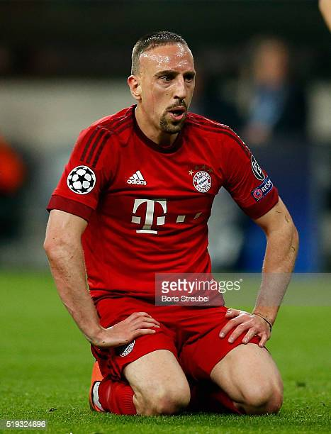 Franck Ribery of Bayern Muenchen reacts during the UEFA Champions League quarter final first leg match between FC Bayern Muenchen and SL Benfica at...