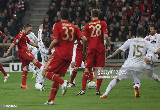 Franck Ribery of Bayern Muenchen scores his first goal during the UEFA Champoins League Semi Final first leg match between FC Bayern Muenchen and...