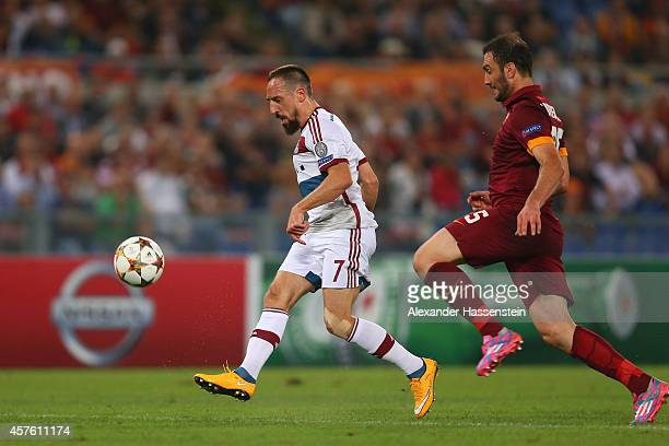 Franck Ribery of Bayern Muenchen scores his team's sixth goal during the UEFA Champions League group E match between AS Roma and FC Bayern Muenchen...