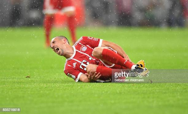 Franck Ribery of Bayern Muenchen screams in pain during the Bundesliga match between FC Bayern Muenchen and Bayer 04 Leverkusen at Allianz Arena on...