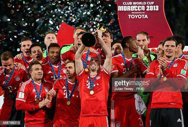 Franck Ribery of Bayern Munchen lifts the trophy after the FIFA Club World Cup Final match between FC Bayern Munchen and Raja Casablanca at the...