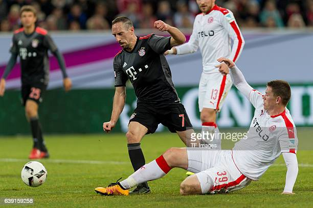 Franck Ribery of Bayern Munich and Alexander Madlung of Fortuna Duesseldorf battle for the ball during the Telekom Cup 2017 at Esprit-Arena on...