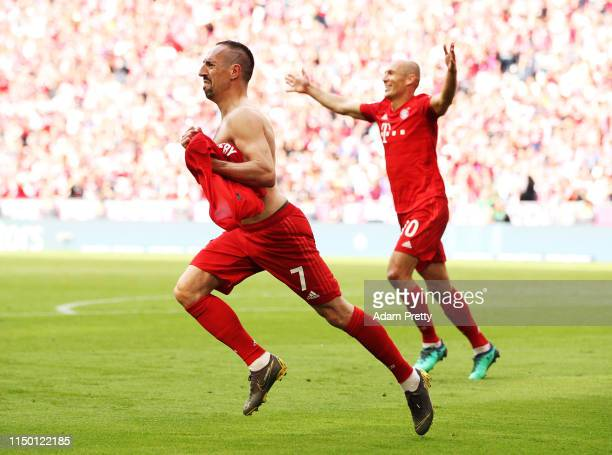 Franck Ribery of Bayern Munich celebrates after scoring a goal during the Bundesliga match between FC Bayern Muenchen and Eintracht Frankfurt at...