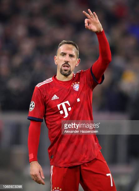 Franck Ribery of Bayern Munich celebrates after scoring his team's fifth goal during the UEFA Champions League Group E match between FC Bayern...