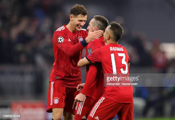 Franck Ribery of Bayern Munich celebrates after scoring his team's fifth goal with Leon Goretzka and Rafinha during the UEFA Champions League Group E...