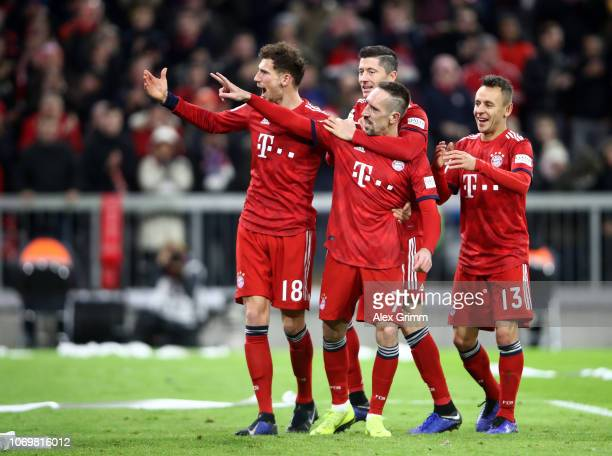 Franck Ribery of Bayern Munich celebrates after scoring his team's third goal with Leon Goretzka of Bayern Munich Robert Lewandowski of Bayern Munich...