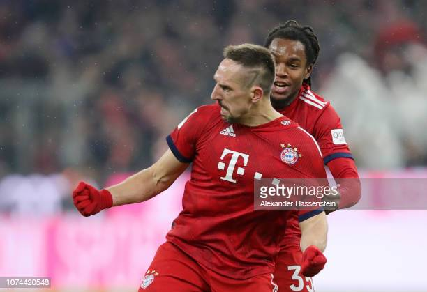 Franck Ribery of Bayern Munich celebrates after scoring his team's first goal with Renato Sanches of Bayern Munich during the Bundesliga match...