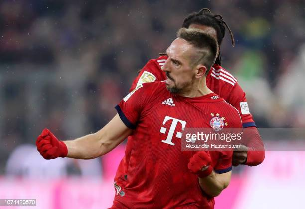Franck Ribery of Bayern Munich celebrates after scoring his team's first goal during the Bundesliga match between FC Bayern Muenchen and RB Leipzig...