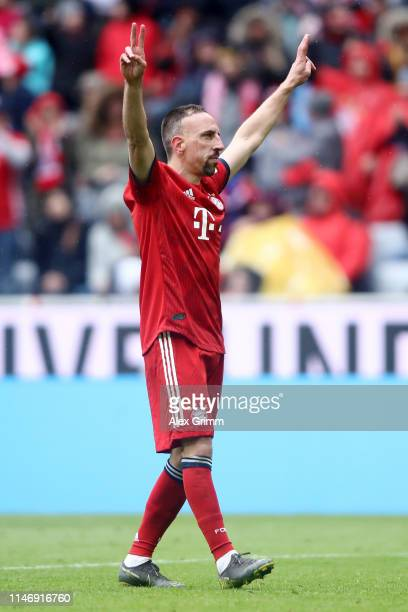 Franck Ribery of Bayern Munich celebrates after scoring his team's third goal during the Bundesliga match between FC Bayern Muenchen and Hannover 96...