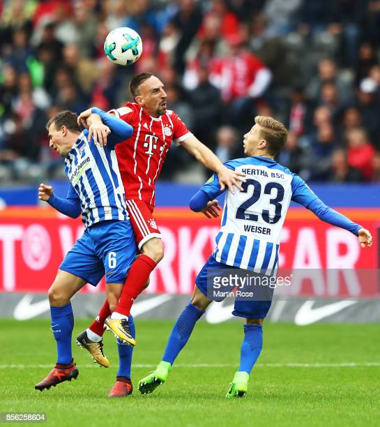 Franck Ribery of Bayern Munich is challenged by Vladimir Darida of Hertha Berlin during the Bundesliga match between Hertha BSC and FC Bayern...