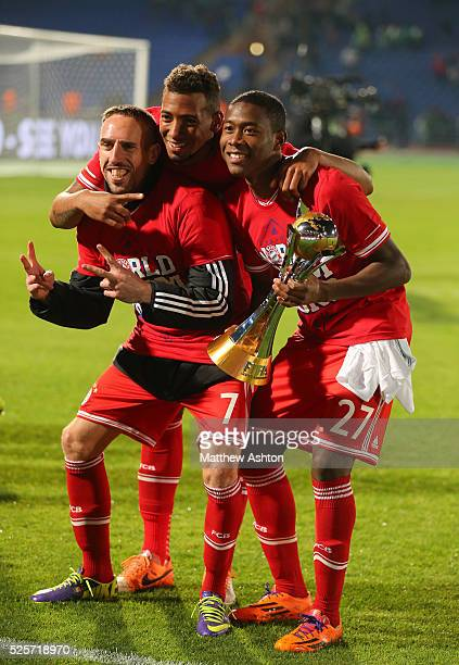 Franck Ribery of Bayern Munich Jerome Boateng of Bayern Munich and David Alaba of Bayern Munich with the FIFA Club World Cup Trophy after defeating...