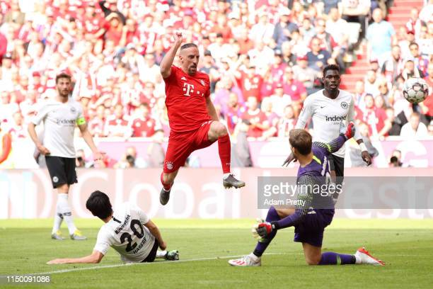 Franck Ribery of Bayern Munich scores his team's fourth goal during the Bundesliga match between FC Bayern Muenchen and Eintracht Frankfurt at...