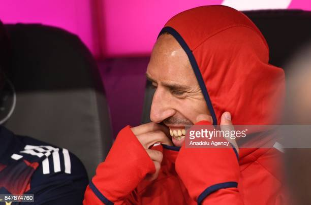 Franck Ribery of Bayern Munich sits on the bench prior to Bundesliga soccer match between Bayern Munich and Mainz 05 at the Allianz Arena in Munich...