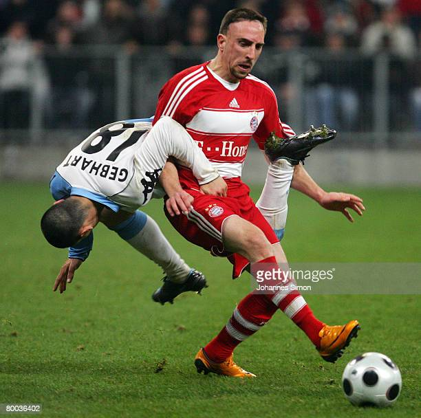 Franck Ribery of Bayern Munich vies for the ball with Timo Gebhardt during the DFB Cup quarterfinal match between FC Bayern Munich and TSV 1860...