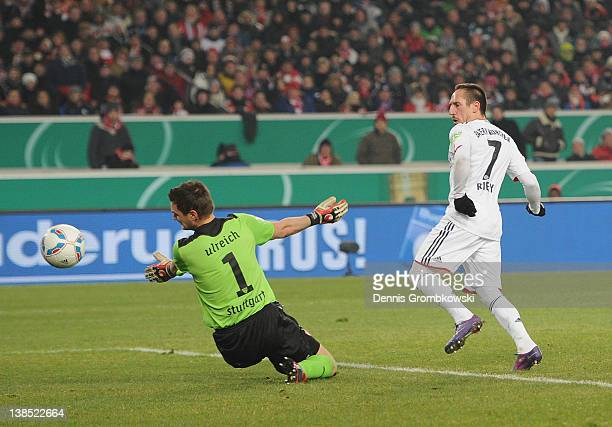 Franck Ribery of Bayern scores his team's opening goal during the DFB Cup Quarter Final match between VfB Stuttgart and Bayern Muenchen at...