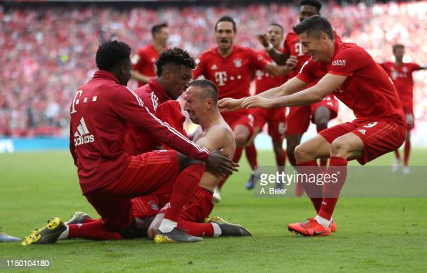 Franck Ribery of FC Bayern celebrates his goal during the Bundesliga match between FC Bayern Muenchen and Eintracht Frankfurt at Allianz Arena on May...