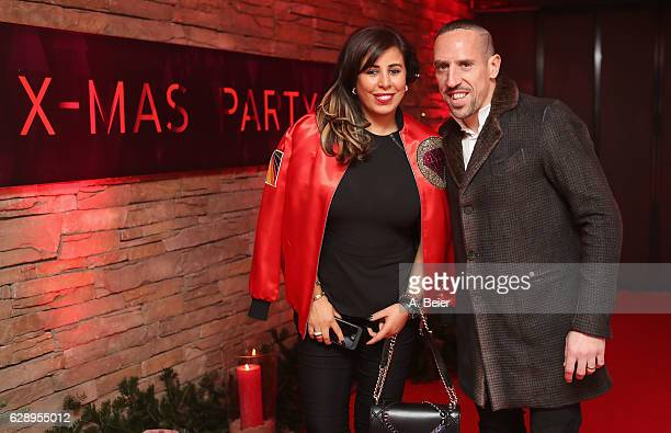 Franck Ribery of FC Bayern Muenchen and his wife Wahiba arrive for the club's Christmas party at H'ugo's bar on December 10 2016 in Munich Germany