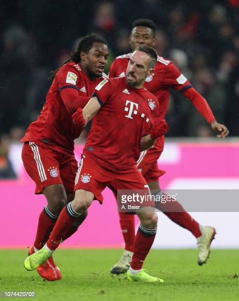 Franck Ribery of FC Bayern Muenchen and teammates Renato Sanches and David Alaba celebrate Ribery's first goal during the Bundesliga match between FC...
