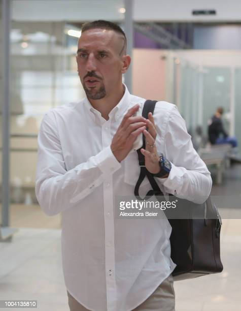 Franck Ribery of FC Bayern Muenchen arrives at the Munich Internatonal airport for the team's flight to the FC Bayern Muenchen AUDI Summer Tour 2018...