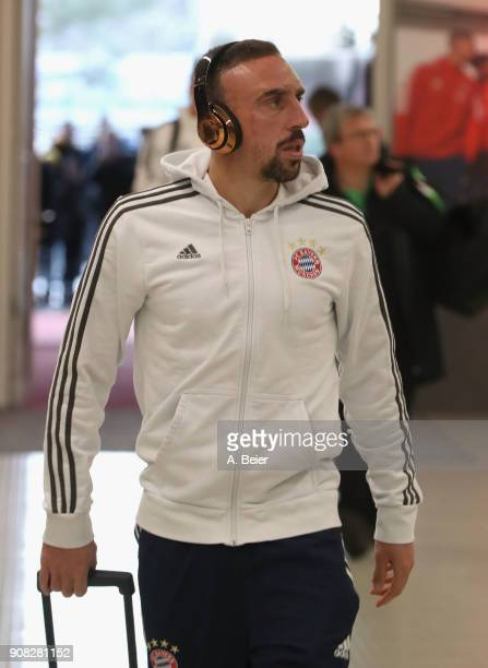 Franck Ribery of FC Bayern Muenchen arrives at the players' tunnel for the Bundesliga match between FC Bayern Muenchen and Werder Bremen at Allianz...