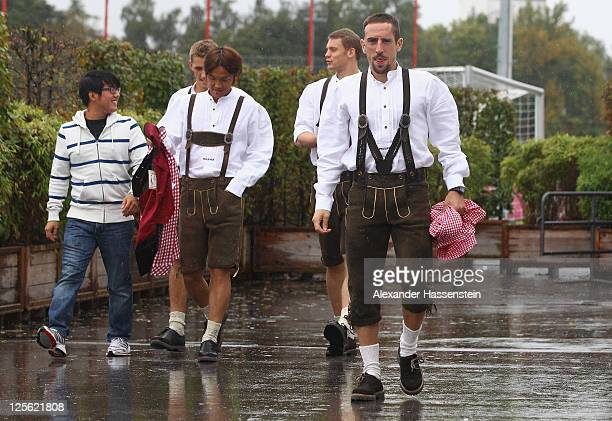 Franck Ribery of FC Bayern Muenchen arrives for the Paulaner photocall at Bayern Muenchen's trainings ground Saebener Strasse on September 19, 2011...