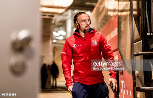 Franck Ribery of FC Bayern Muenchen arrives with the bus prior to the Bundesliga match between RB Leipzig and FC Bayern Muenchen at Red Bull Arena on...