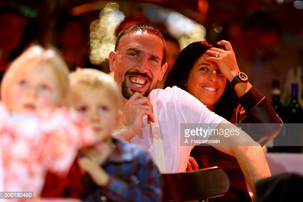 Franck Ribery of FC Bayern Muenchen attends with his wife Wahiba Ribery the FC Bayern Muenchen Christmas Party at Alfons Schuhbeck`s...
