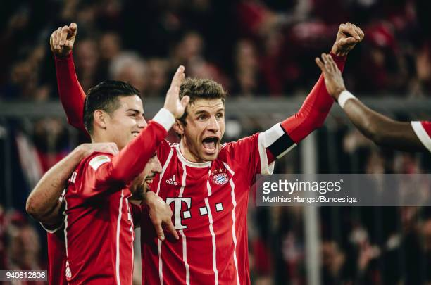 Franck Ribery of FC Bayern Muenchen celebrates with his teammates after scoring his team's fourth goal during the Bundesliga match between FC Bayern...