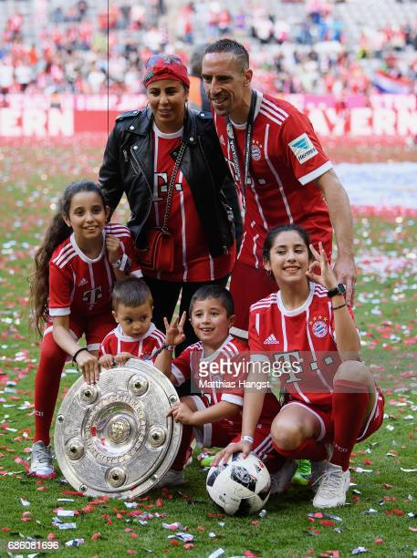 Franck Ribery of FC Bayern Muenchen celebrates with his wife Wahiba Ribery and children Salif Ribery Mohammed Ribery Hizya Ribery Shakinez Ribery...