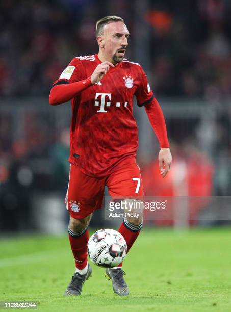 Franck Ribery of FC Bayern Muenchen controls the ball during the Bundesliga match between FC Bayern Muenchen and FC Schalke 04 at Allianz Arena on...