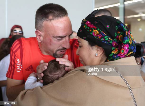 Franck Ribery of FC Bayern Muenchen is welcomed by wife Wahiba and family and friends as he arrives for the Bundesliga match between FC Bayern...