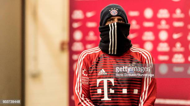 Franck Ribery of FC Bayern Muenchen looks on in the players tunnel prior to the Bundesliga match between RB Leipzig and FC Bayern Muenchen at Red...